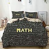 Qoqon Juego de Funda nórdica Beige, Dark Blackboard Word Math Equations Geometry Axis, Juego de Cama Decorativo de 3 Piezas con 2 Fundas de Almohada