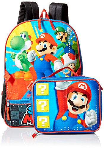 Nintendo Boys' Mario Backpack with Lunch, blue, One Size