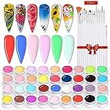 Anself Esmaltes de Uñas, 36 Colores DIY Esmaltes Semipermanentes de Uñas Esmaltes en Gel Uñas UV LED de Pigmento Vistosa Set de Regalo Trae un Juego de 15 Pinceles (Blanco)