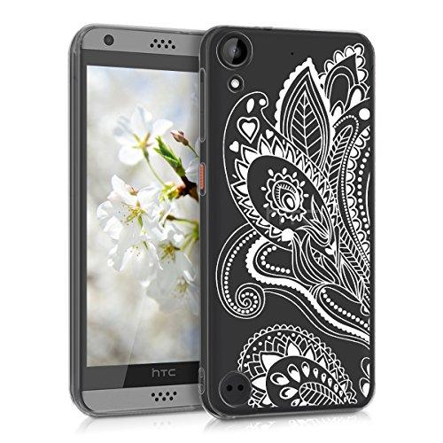 kwmobile Hülle kompatibel mit HTC Desire 530 - Handyhülle - Handy Hülle Paisley Blume Weiß Transparent