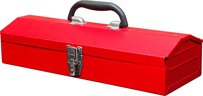 """BIG RED ATB213 Torin 16"""" Hip Roof Style Portable Steel Tool Box with Metal Latch Closure, Red: image"""