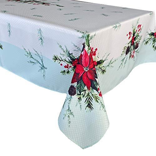 Lintex Holly Bough Stonewashed Border Traditional Christmas Tablecloth, Poinsettia and Holly Sprig, Sage Bordered Xmas Holiday Easy Care Fabric Tablecloth, 52 Inch x 70 Inch Oblong/Rectangle