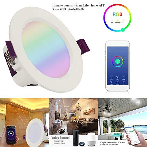MENGZHEN 1PC LED kleur veranderen verzonken verlichting Downlight plafondlamp met afstandsbediening werk met Alexa Amazon en Google Home