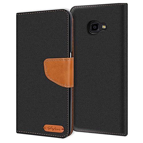 Conie Samsung Galaxy XCover 4 Hülle für Galaxy XCover 4 Tasche, Textil Denim Jeans Look Booklet Cover Handytasche Klapphülle Etui mit Kartenfächer, Schwarz