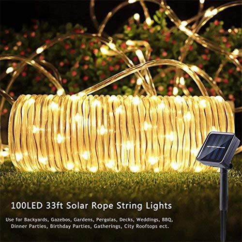 MeiGuiSha Solar Lichtschlauch Lichterkette 12M 100er LED IP65 Wasserdicht Lichterkette Außen Solarlichterkette Deko für Garten, Balkon, Terrasse, Tor, Hof, Hochzeit, Party (Warmweiß)