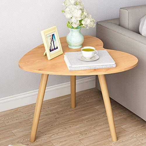 Table Basse en Forme de Coeur Table d'appoint en Bois Massif Banc de Travail Chambre à Coucher Table de Chevet Salon Sofa Terrasse, Couleur du Bois (Color : Natural)