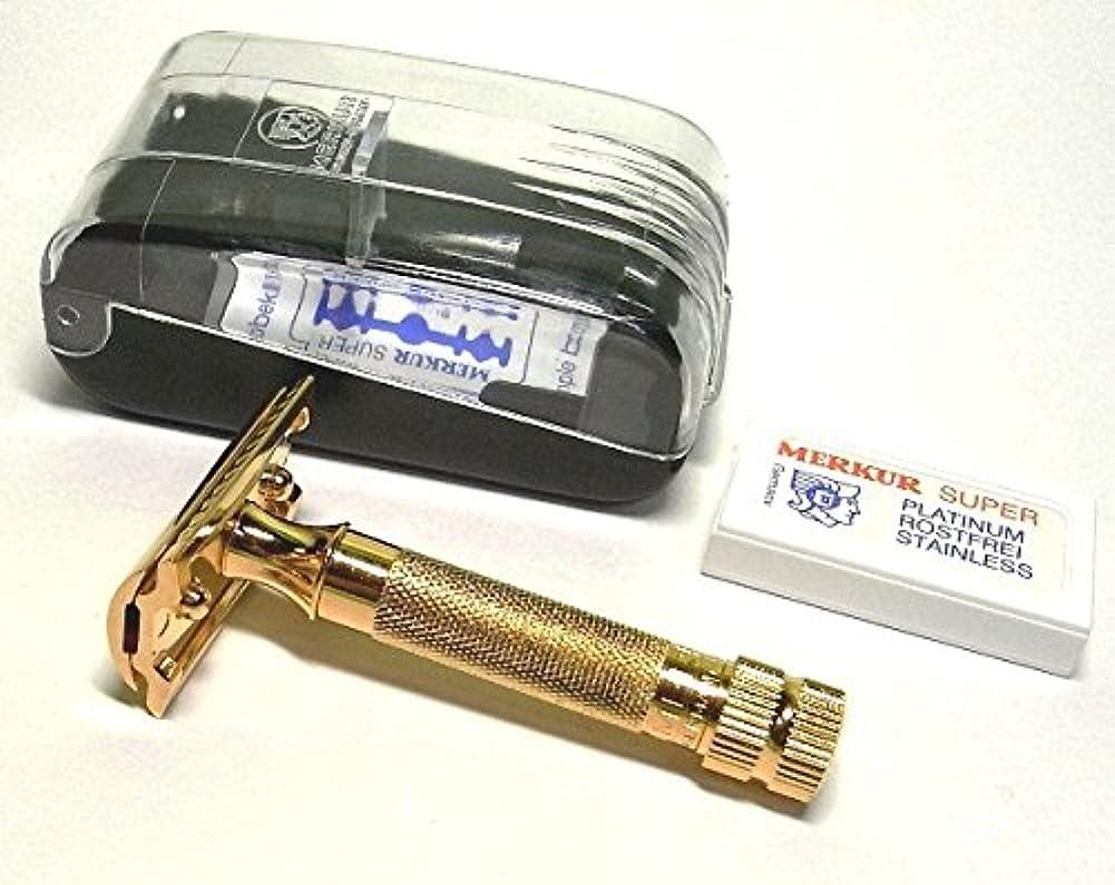あからさま浸透する状態メルクール(独)安全器両刃ホルダー334G オール金メッキ(替刃10枚付