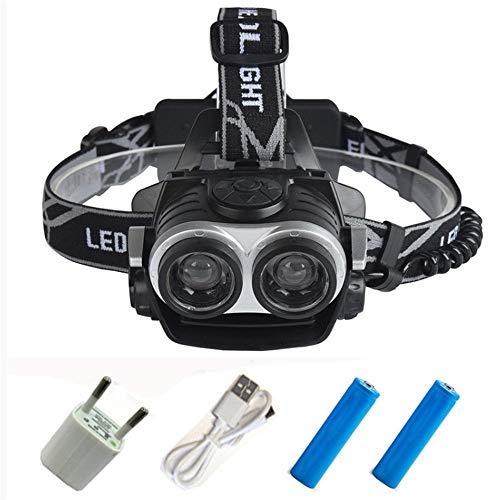 Linterna Frontal,25000 lúmenes Led faro 2 * T6 Zoom faro antorcha cabeza lámpara usb recargable linterna luz para batería 18650
