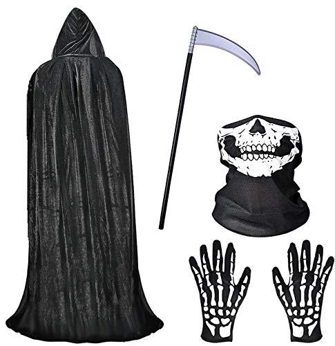 faburo Mantello Nero con Cappuccio Lungo per Costume Halloween, Maschera da Teschio Costume e Guanti da Scheletro e Falce della Morte di Halloween Capo Masquerade Costume di Natale