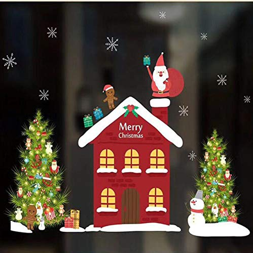 Wuyyii Stickers mijn huis Kerstmis Woonkamer Kerstman Kerstman Sneeuwman Elk muur Stickers raamdecoratie