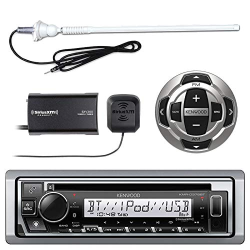 "Kenwood KMR-D368BT MP3/USB/AUX Marine Boat Yacht Stereo Receiver CD Player Bundle Combo with KCARC35MR Wired Remote Control + SiriusXM Radio Tuner + Enrock Outdoor Rubber Mast 45"" Antenna"