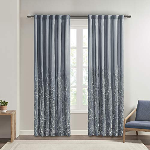 Madison Park Andora Embroidered Back Tab Fabric Window Living Room, Transitional Rod Pocket Light Curtain for Bedroom, 1-Panel Pack, 50 x 108, Blue