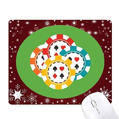 des jetons de casino multicolore illustration tapis de souris en hiver flocon de neige