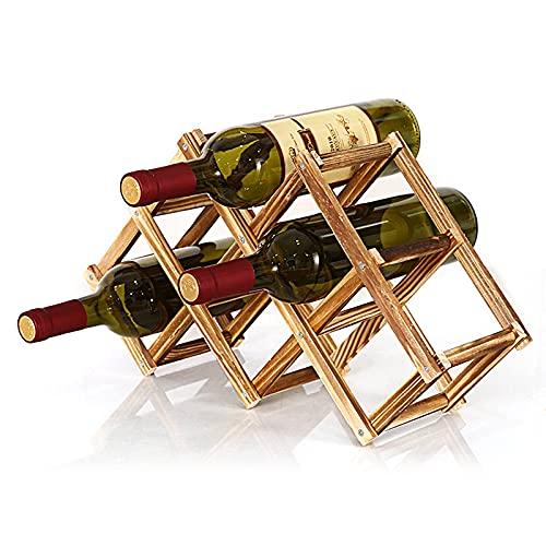 Mecmbj Soporte para Botellero de Madera Plegable, Estante para Vino Plegable, Estante para Vino Resistente para 6 Botellas, Utilizado para Almacenar Botellas De Vino y Botellas De Cerveza