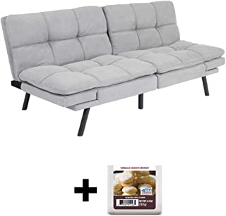 Upholstered Memory Foam Futon, Gray Suede + Free Vanilla Cookie Crunch Scented Wax Melts