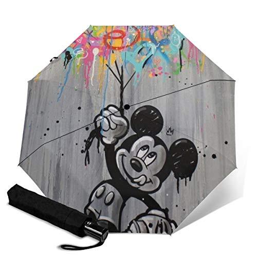 Paraguas automático de Mickey Mouse Minnie de tres pliegues unisex impreso paraguas manual paraguas portátil