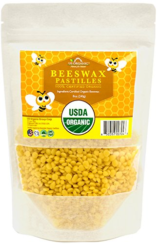 US Organic Beeswax 100 % Pure Yellow Pastilles, USDA Certified, 8 Ounce Medium pack