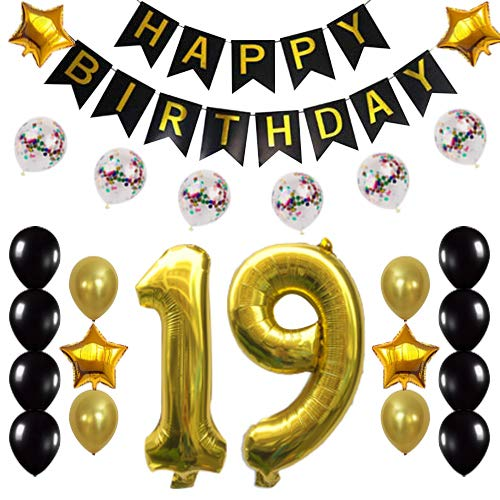 Gold 19th Birthday Decorations Party Supplies Happy 19th Birthday Confetti Balloons Banner and Number Sets for 19 Years Old Party 26 PCS