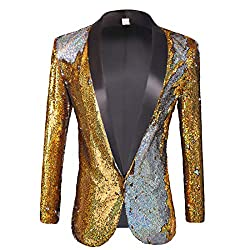 Gold - Silver 01 Color Conversion Shiny Sequins Blazer