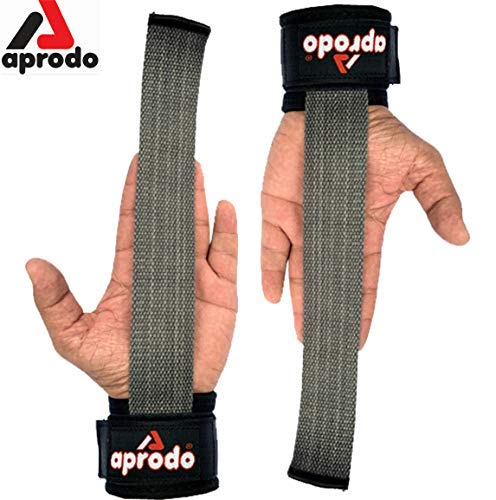 Aprodo Power Weight Lifting Bar Straps with Wrist Support Wraps, Gym Workout, Bodybuilding, Powerlifting, Strength Training for Men & Women (Grey and Black)
