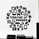 SUPWALS Adesivi murali Internet Of Things Decalcomania Da Muro Citazione Hi Tech It Geek Adesivo Da Parete In Vinile Cameretta Per Ragazzi Computer Aula Arredamento Interno 57X58Cm