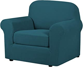 Best H.VERSAILTEX 2-Pieces Armchair Cover Chair Slipcovers with Arms Furniture Protector Cover Fit Armchair Width Up to 48 Inch, Jacquard Spandex Couch Covers Armchair Slipcover - Deep Teal, Chair Review
