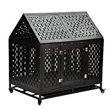 Gelinzon Heavy Duty Dog Cage Crate Kennel Playpen Large Strong Metal for Large Dogs and Pets, Easy to Assemble with Patent Lock and Four Lockable Wheels, 42''