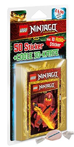 DE Lego Ninjago Legacy Sticker 2020 - 1 Blister (10 Stickertüten inkl. 1x 3D Card) zusätzlich 1 x Fruchtmix Sticker-und-co Bonbon