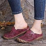 WoJogom Sandalias De Mujer PU Perforada Suela De Goma Transpirable Zapatillas Antideslizantes Chanclas De Playa Rojo Vino