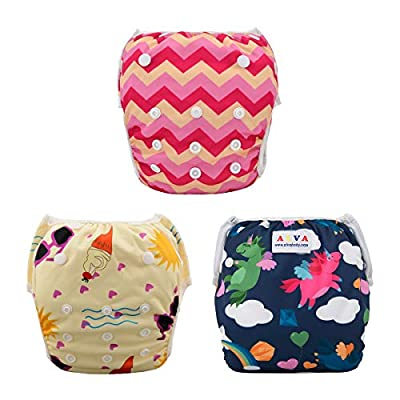ALVABABY Swim Diapers 3pcs One Size Reuseable Washable Adjustable for Swimming Lesson Baby Shower Gifts 3SW18