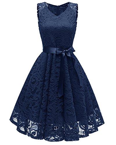 LA ORCHID Laorchid Damen Spitzen Rockabilly Kleid Abendkleider Cocktailkleid festlich Knielang Navy M