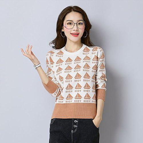Xuanku Femmes Tricotée Shirt Femme Tricoté Col De Chemise Col Rond Manches Longues Pull Femme120,Beige