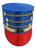Deluxe Toy Soldier Nutcracker Hat - Ring Master Lion Tamer Hat - Drum Band Major Costume Accessory Multi, One Size Blue/Red
