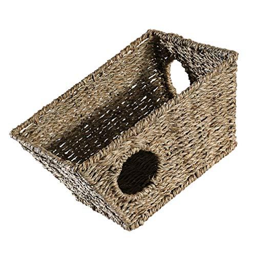 Angoily Casa de Hámster Seagrass Conejo Hideaway Hut Juguete Tejido a Mano Camas para Masticar Juguete para Conejillo de Indias Hurón Pequeños Animales