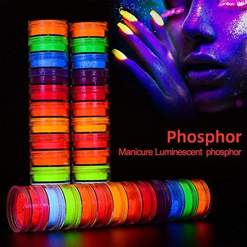 fridaymonga Maquillaje En Polvo De Neón, Pintura De 12 Colores Polvo Fluorescente para Uñas Sombra De Ojos De Neón Reactiva UV Pintura Corporal Pigmento De Color para Cara/Ojos/Uñas/Cuerpo
