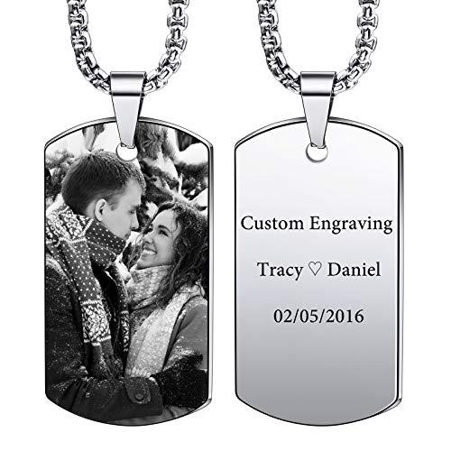 VIBOOS Custom Dog Tag Anhänger Halskette Gravur Datum/Text/Bilder Edelstahl personalisierte Halskette für...