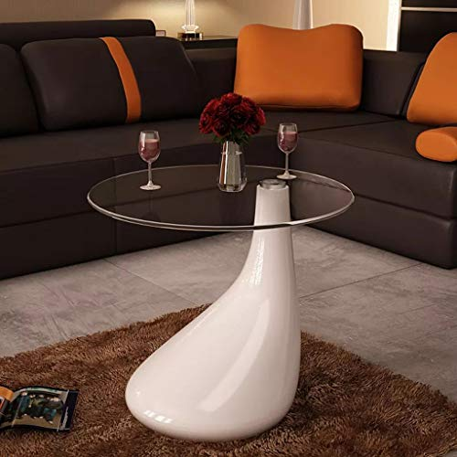 VidaXL - Mesa auxiliar de centro (fibra de vidrio, base de cristal templado), color blanco brillante