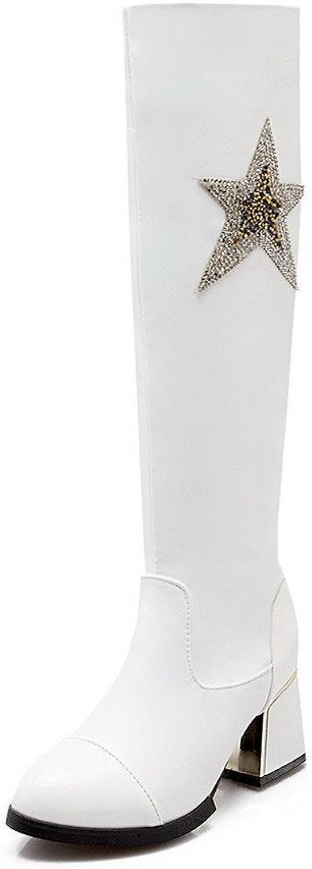 AllhqFashion Women's Blend Materials Closed Round Toe Kitten-Heels Solid Boots