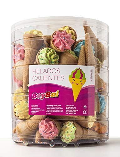 Helados Calientes con Anisitos La Asturiana - Golosina en forma de helado, con auténtico y crujiente barquillo, con anisitos, 100% artesano, botes 40 unidades