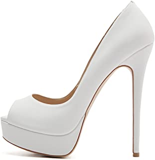 707f635611a6 Onlymaker Women s Sexy High Heels Peep Toe Slip On Platform Pumps Stiletto  Dress Party Wedding Shoes