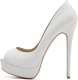 Women's Sexy High Heels Peep Toe Slip On Platform Pumps Stiletto Dress Party Wedding Shoes
