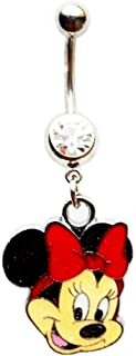 Minnie Mouse W/Big RED Bow Navel Belly Button Ring Body Jewelry Piercing