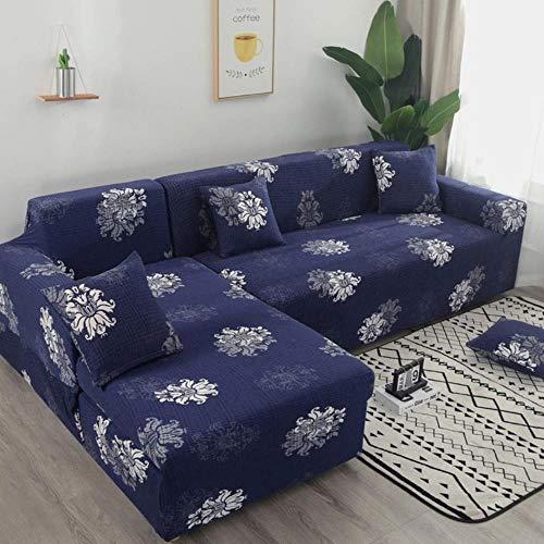 JUIC Orange Geometric Sofas Universal L-Shaped Sofa Cover Elastic Force Sectional Sofa Cover Living Room Furniture Cover,24,2-Seater 145-185cm