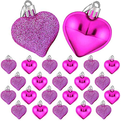 24 Pcs Valentine's Day Heart Shaped Ornaments, Heart Shaped Decoration Baubles, Valentines Heart Decorations (Hot Pink)