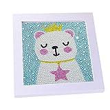 AVNICUD Kit de pintura de diamante 5D para niños, taladro completo, pintura por número, con marco blanco (osito)