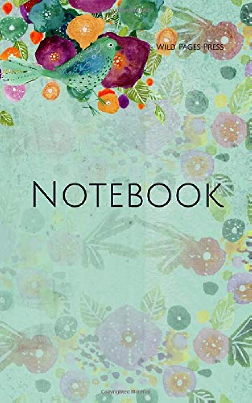 バルクセーブ噛むNotebook: background green  floral watercolor botanical botany science garden gardening flowers