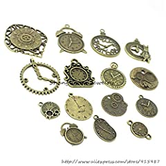 18 Pcs/set Clock Pendant Charms, Multicolored Mixed Antique Bronze Watch Gear Cog Wheel Charms Steampunk Clock Pendant DIY Jewelry Making Accessories #4