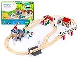 Kinderplay Tren Juguete, Tren Madera - Ferrocarril de Madera, Juego de Vías, Tren Electrico, Funciona con Pilas, Comisaría de Policía, Trenes de Juguete, GS0010