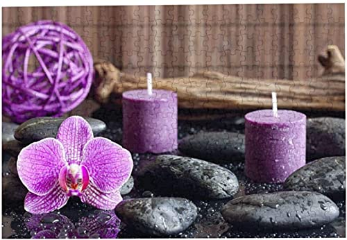 Purple Flowers and Candles Picture Jigsaw Puzzle, 300 Piece Wooden Jigsaw Puzzle Family Decorations, Unique Present Suitable for Teenagers and Adults