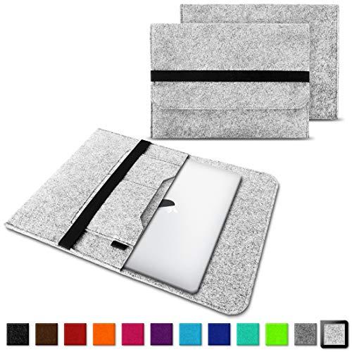 NAUC - Funda de fieltro para portátiles y tablets (compatible con portátiles Samsung, Apple, Asus, Medion y Lenovo), color gris claro